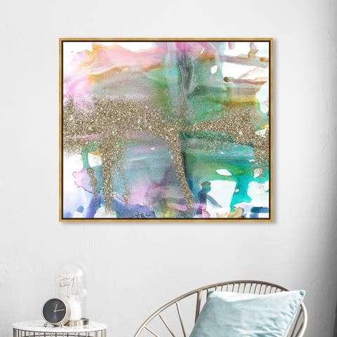 Oliver Gal 'Pastel Vision I' Abstract Wall Art Framed Canvas Print Paint - Blue, Gold