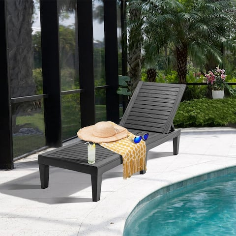 Costway 2 PCS Patio Lounge Chair Chaise Recliner Weather Resistant