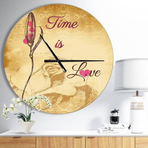 Designart 'Time is Love Vintage Flower' Oversized Quote Wall CLock