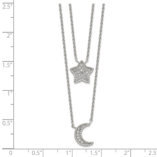 Sterling Silver Polished Cubic Zirconia Moon and Star Double Strand Necklace by Versil