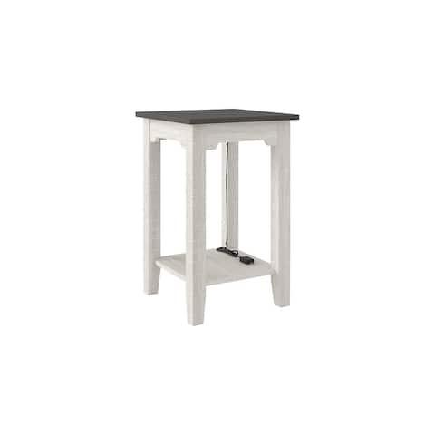 """Dorrinson Chair Side End Table, White/Brown - 16"""" x 16"""" x 24"""""""