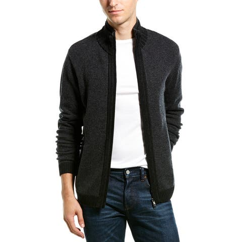 Autumn Cashmere Mock Neck Jacket - CHARCOAL/BLACK