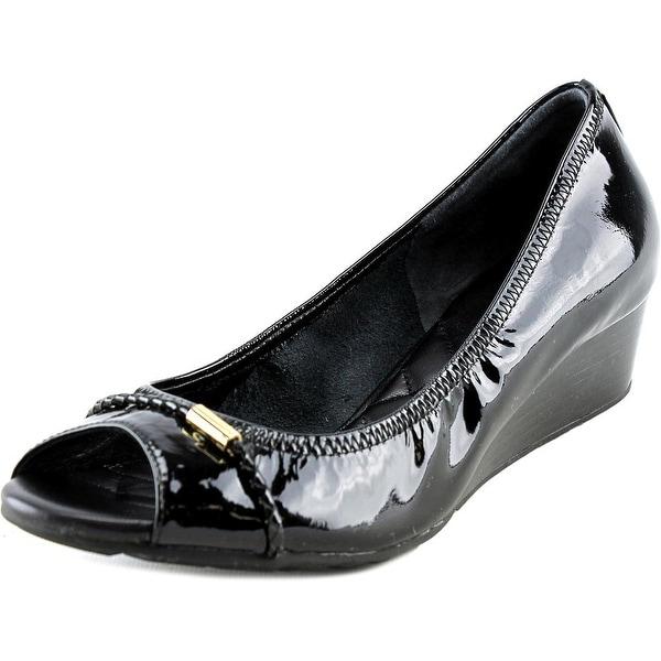 Cole Haan Tali Ot.DetWedge.40 Women Open Toe Patent Leather Black Wedge Heel