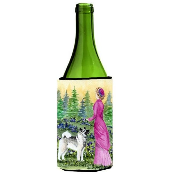 Lady With Her Norwegian Elkhound Wine bottle sleeve Hugger - 24 oz