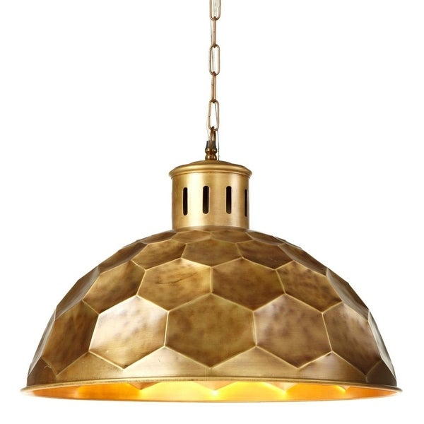 Gold Honeycomb Designed Pendant Plug-in with Hard Wire Kit Included 25""
