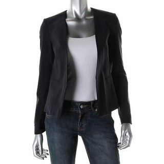 Theory Womens Delaven Wool Open Front Collarless Blazer