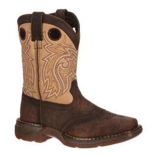 "Durango Boot Children's DBT0118 Lil' Rebel 8"" Saddle Brown/Tan Leather"