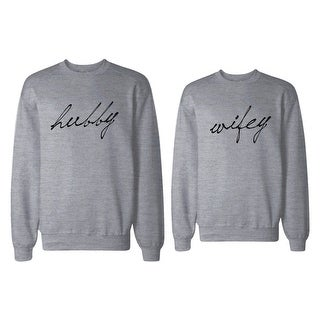 HUBBY and WIFEY Couple Sweatshirts Funny Matching Grey Outfit for Couples