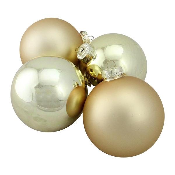"4-Piece Shiny and Matte Gold Glass Ball Christmas Ornament Set 4"" (100mm)"