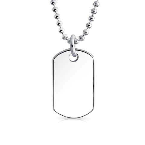 Shot Bead Ball Chain Engravable Small Dog Tag Pendant Necklace 925 Sterling Silver 16 Inch
