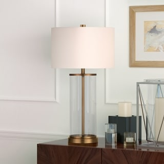 Link to Reeves Cylindrical Clear Glass & Antique Brass Table Lamp with Linen Shade Similar Items in Table Lamps