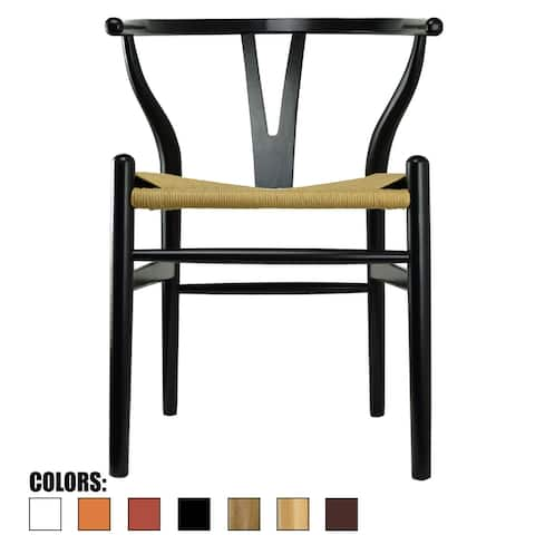 2xhome Modern Wood Dining Chair With Open Back Arm Armchair Hemp Seat For Home Restaurant Office