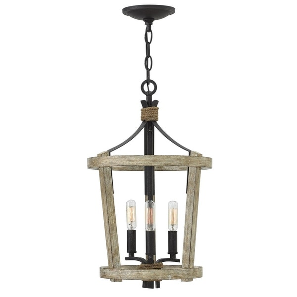 Fredrick Ramond FR45203 3 Light Cage Chandelier from the Sherwood Collection - cottage whitewash
