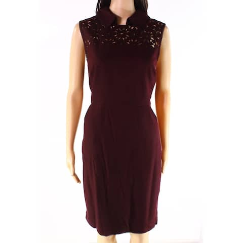 Susana Monaco Red Womens Size 12 Laser-Cut Collar Sheath Dress