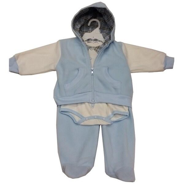 Rumble Tumble Baby Boys Blue White Onesia Hooded Top 3 Pc Pant Set 3-9M