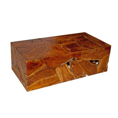 Natural Teak Wood Coffee Table, Rustic Accent Table for Living Room