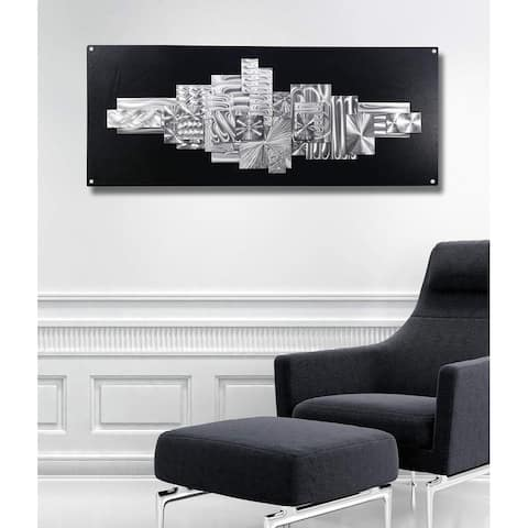 Statements2000 Black & Silver Large Abstract Metal Wall Art Sculpture by Jon Allen - Time Suspended 2