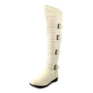 West Blvd Tehran Thigh High Women Round Toe Leather White Knee High Boot