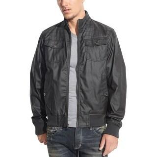 INC International Concepts Coated Cotton Bomber Jacket Medium M Black Solid
