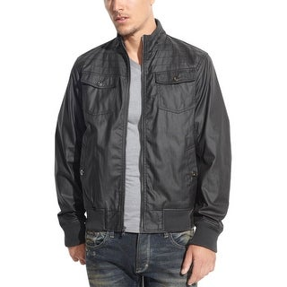 INC International Concepts Coated Cotton Bomber Jacket Small S Black