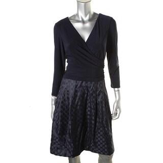 American Living Womens Matte Jersey Bodice Woven Skirt Wear to Work Dress - 16