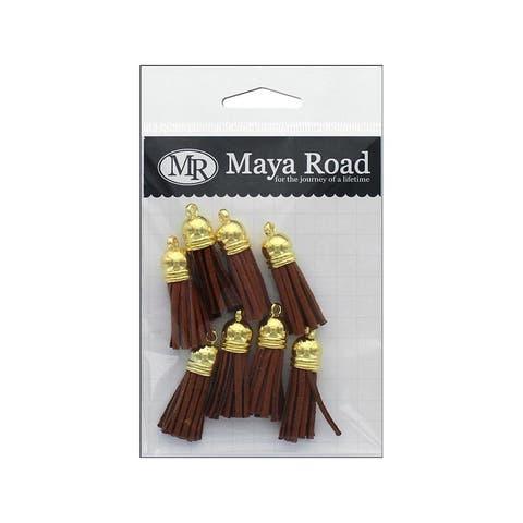 Tas3333 maya road vintage tassels gold cap bark brown