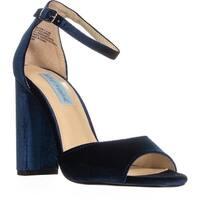 Betsey Johnson Carly Block Heel Ankle Strap Dress Sandals, Blue Velvet - 6.5 us