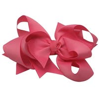 Girls Pink Solid Color Grosgrain Knot Bow Alligator Hair Clippie
