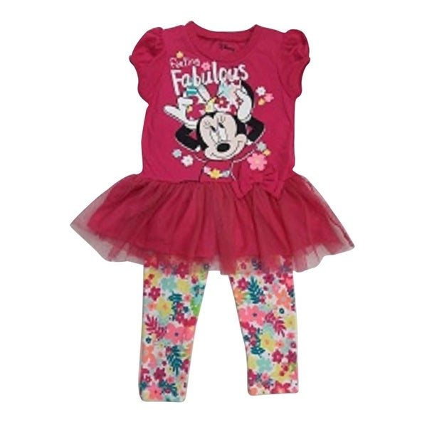 7579ce2ee78f Shop Little Girls Fuchsia Minnie Mouse Skirted Top Floral 2 Pc Legging Set  - Free Shipping On Orders Over $45 - Overstock - 18166917