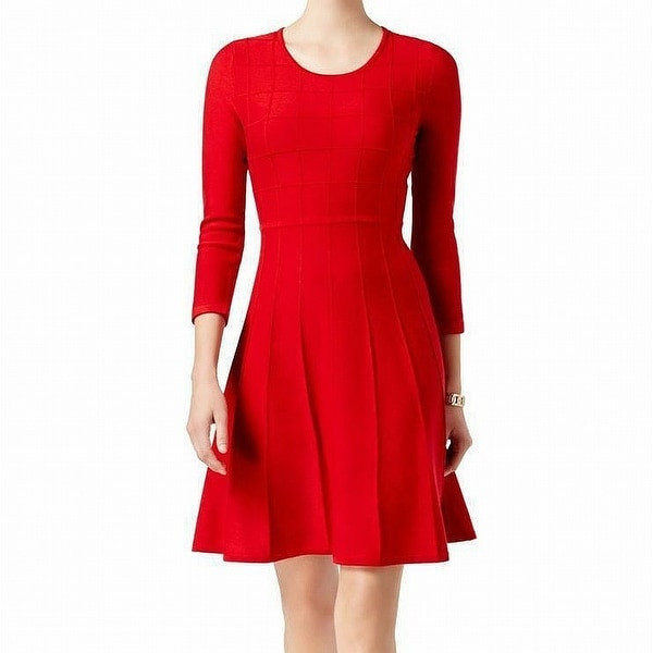 Jessica Howard Red Womens Size Small S Long Sleeve Sweater Dress