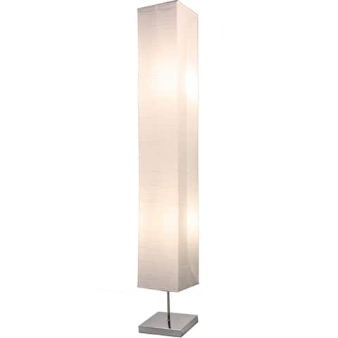 Honors Chrome Floor Lamp 50 Inches Tall with White Paper Shade