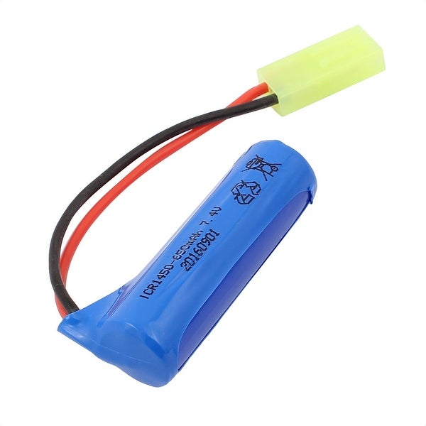 DC 3.7V 650-1450mAh Cylindrical Rechargable Lithium Battery w Green Connector