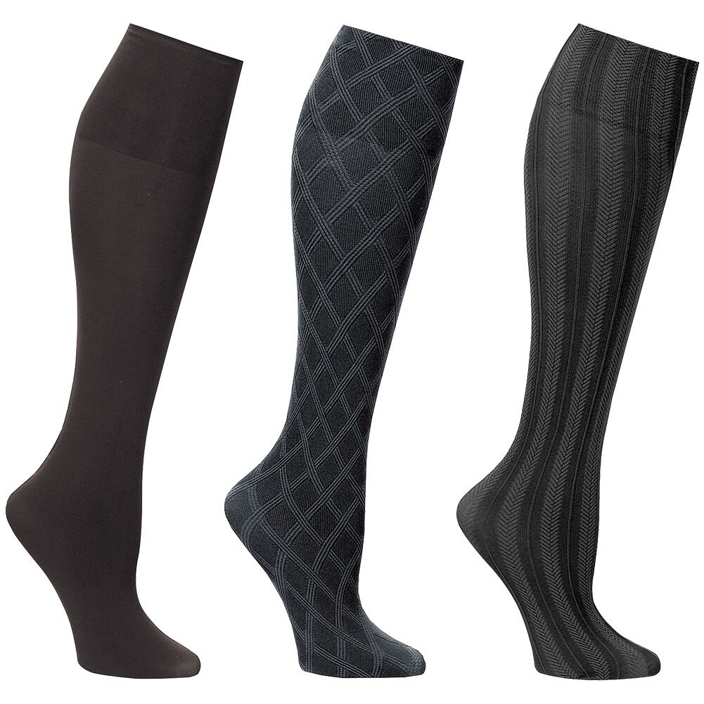 Women/'s Trouser Socks Moderate Support Black Sz 10-13 New