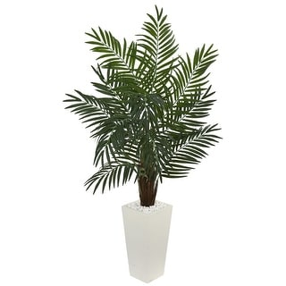 Nearly Natural 5.5' Areca Artificial Palm Tree in White Tower Planter