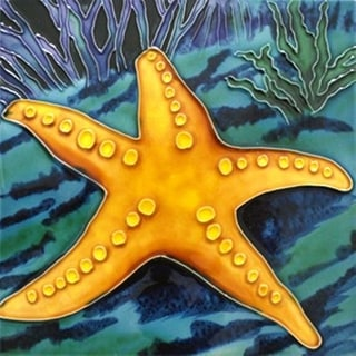 Starfish on Ocean Floor Ceramic Tile 4 Inches