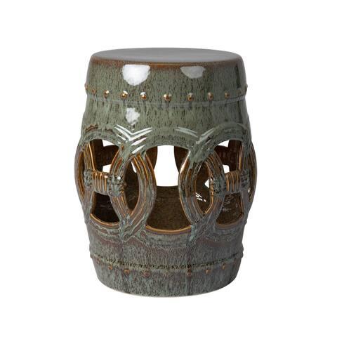 Large Medallion Ceramic Indoor/Outdoor Garden Stool/Table in Olive Jade Green