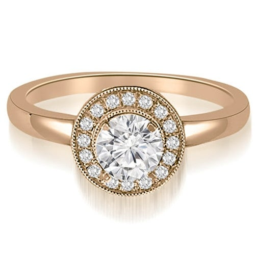 0.60 cttw. 14K Rose Gold Classic Round Cut Halo Diamond Engagement Ring