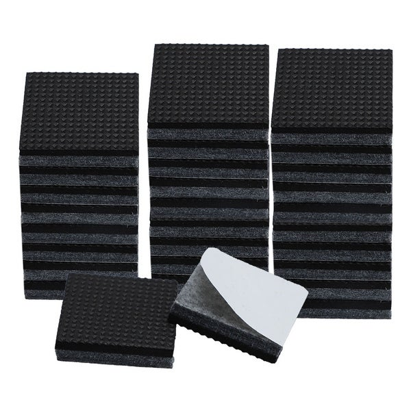 "30pcs Square 7/8"" Felt Furniture Pads Grippers Floor Protector for Table Desk Chair Legs Gray"