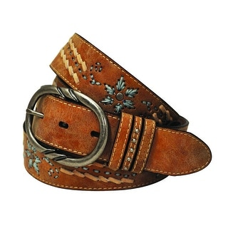 Cowgirls Rock Western Belt Womens Distressed Leather Emb Tan