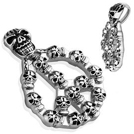 Peace Sign with Casted Multi Skulls Stainless Steel Pendant (33 mm Width)