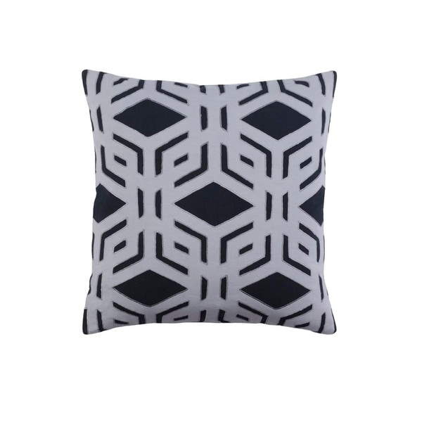 """22"""" Rhomboidal Tribe Jet Black and Gray Woven Decorative Throw Pillow - Down Filler"""