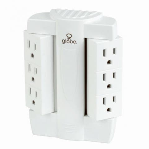Globe 7799701 Swivel Tap with Surge Protection, 510-Joules, White, 6-Outlet