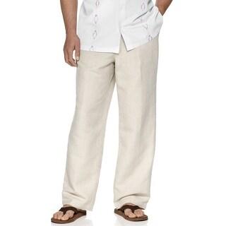 Tasso Elba Island Big and Tall Drawstring Linen Pants Natural Khaki 44 Big 44B