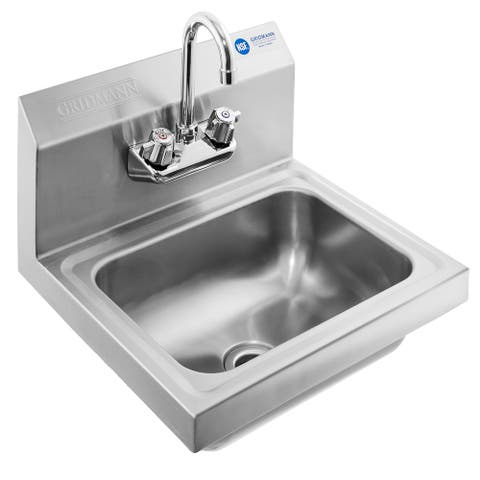 NSF Stainless Steel Sink Wall Mount Hand Washing Basin with Faucet by - Silver