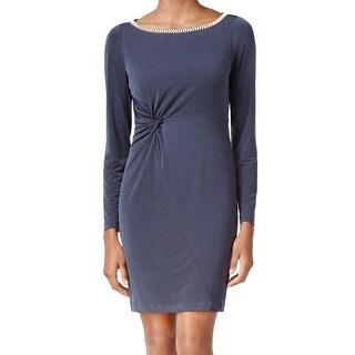 Jessica Simpson NEW Gray Womens 10 Embellished Twist-Knot Sheath Dress