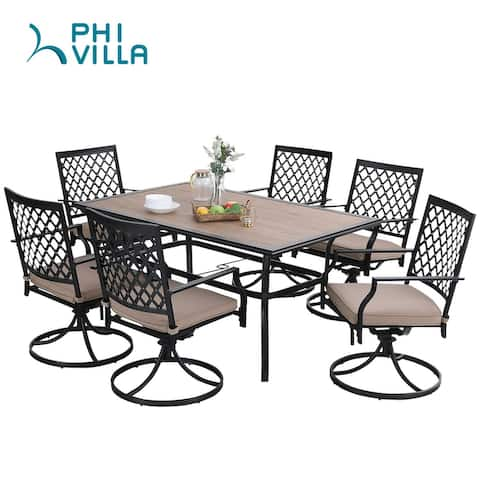 PHI VILLA Outdoor Patio Dining Set with 6 Swivel Chairs and 1 Rectangular Umbrella Wood Like Table