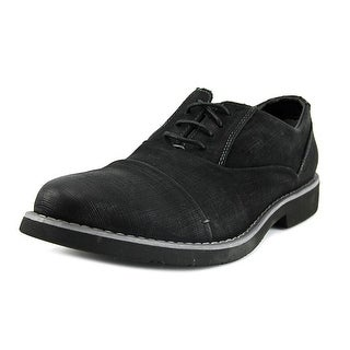 Steve Madden P-Urse Men  Cap Toe Leather Black Oxford