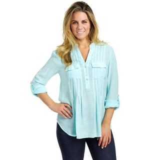 Zac & Rachel Women's Button Front Slub Shirt