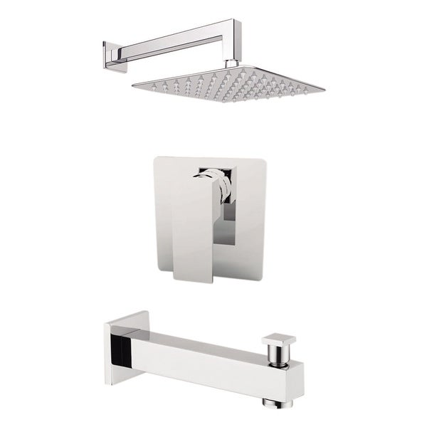 """Aquamoon Milan Shower Set Chrome With 12"""" Showerhead, Spout and Wall Shower Arm"""