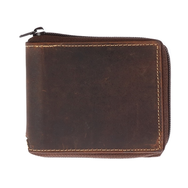 CTM® Men's Hunter Leather Distressed Zip-Around Bifold Wallet - One size